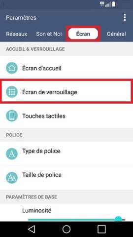 contact code pin ecran verrouillage LG android 5.1 ecran de verouillage