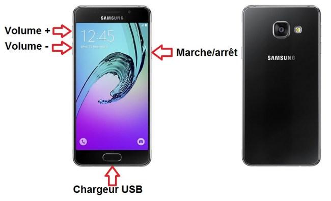 Samsung Galaxy A3 2016 bouton