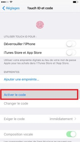 contact code pin ecran verrouillage iPhone 6 activer code