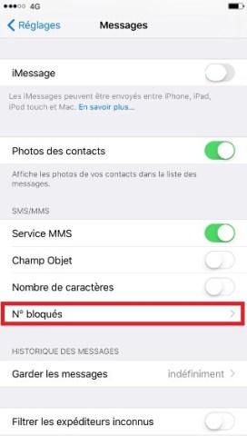SMS iMessages iPhone 7 numéro bloqués