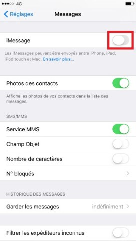 SMS iMessages iPhone 6 6S plus SE désactivé