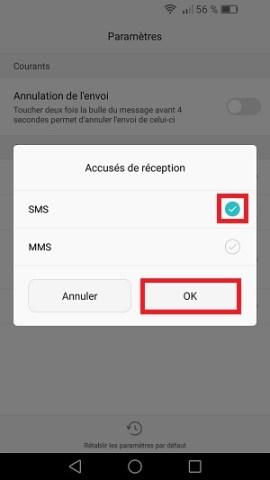 SMS Huawei android 6 accusés de réception