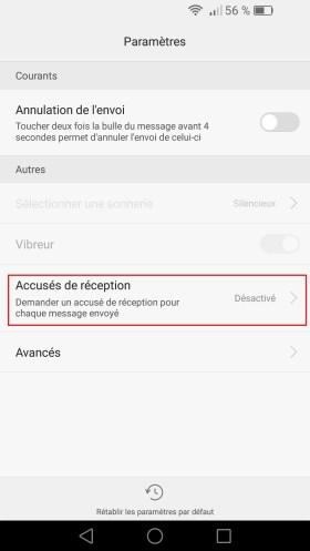 SMS Huawei android 6 . 0 accusé de reception
