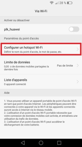 internet Huawei android 6 partage internet