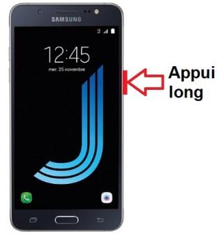 Samsung Galaxy J5 2016 allumage
