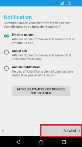 mail Sony android 7.0 mail son notification