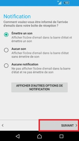Sony 6.0 mail son notification