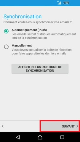 mail Sony android 7.0 notification