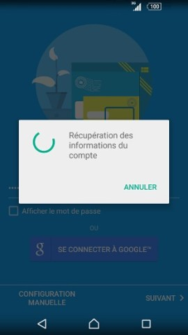 mail Sony android 5.1 recuperer mail