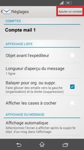 mail Sony android 4.4 ajouter un compte