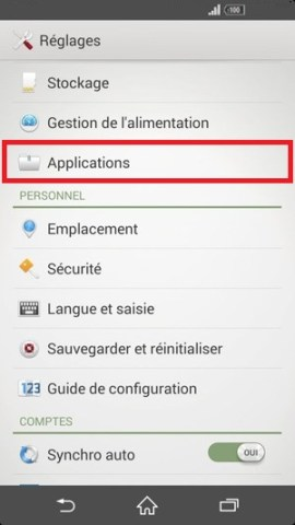 Application Sony android 4.4 application
