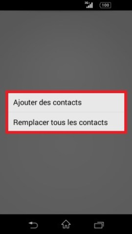 contact code pin ecran verrouillage Sony (android 4.4) contact ajout et remplacement