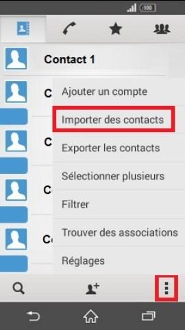 contact code pin ecran verrouillage Sony (android 4.4) contact importer SIM vers tel