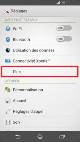 Échec réseau appel Sony android 4 . 4 parametre plus