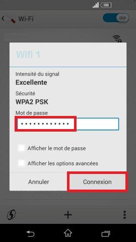 internet Sony android 4 . 4 wifi mot de passe