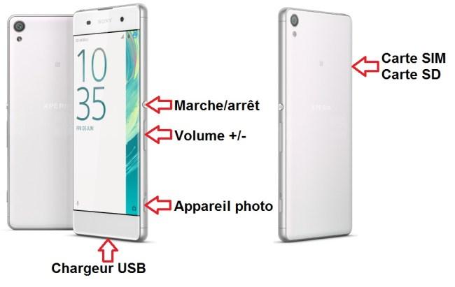 Sony Xperia XA bouton