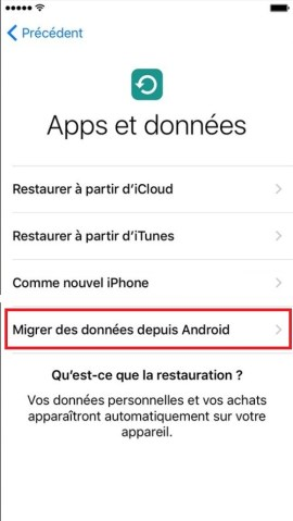 Transférer ses données iPhone-restaurer-android