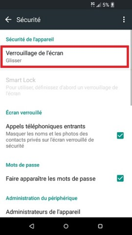 contact code pin ecran verrouillage HTC