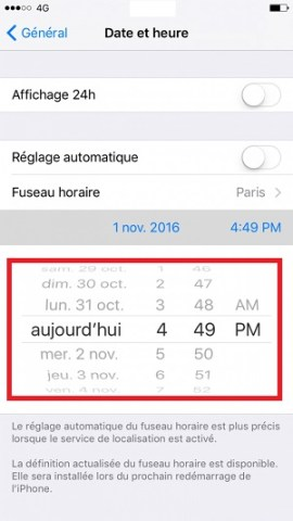 Applications iPhone 6 date et heure
