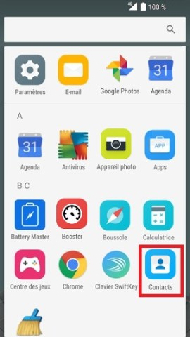 contact code pin ecran verrouillage Alcatel android 6.0 contact