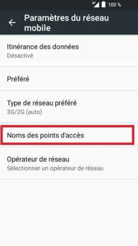 MMS alcatel android 6.0 noms acces