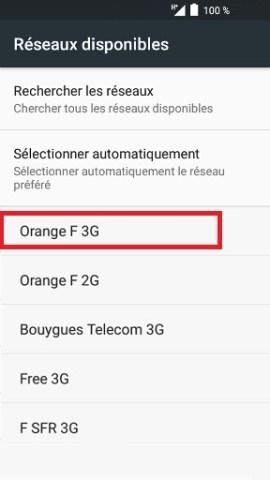 Échec réseau appel Alcatel android 6.0 sélection opérateur