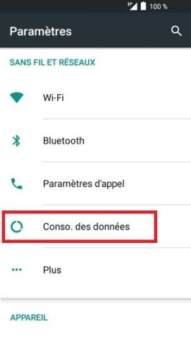 internet Alcatel android 6.0 conso des données