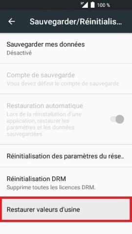 Réinitaliser Alcatel android 6.0