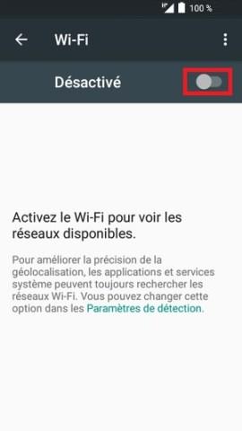 internet Alcatel android 6.0 desactivé