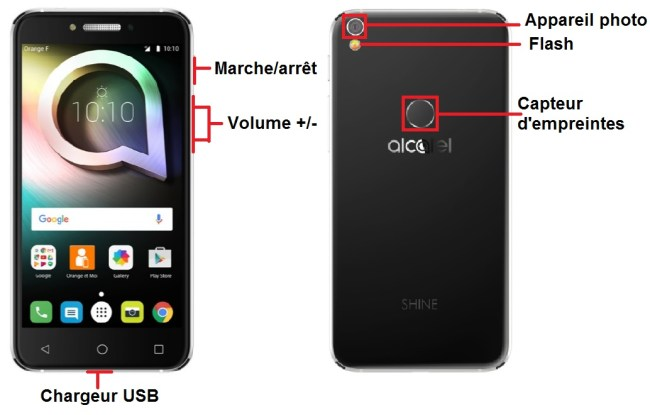 Alcatel Shine Lite bouton