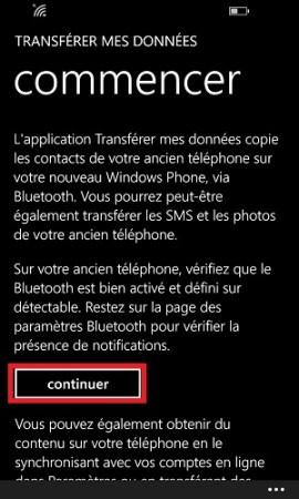 Transférer ses données Lumia