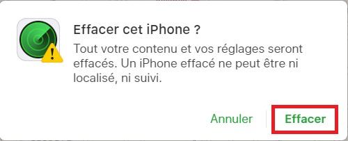 iPhone perdu ou volé effacer
