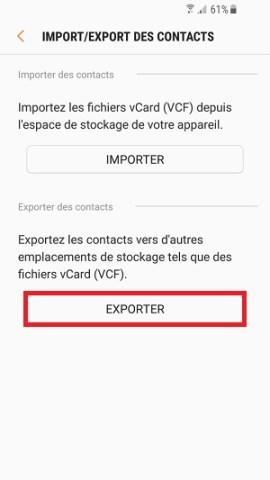 contact code pin ecran verrouillage Samsung (android 7.0) exporter