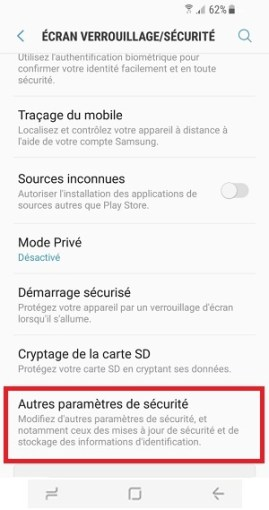 contact code pin ecran verrouillage Samsung S8 paramètre sécurité