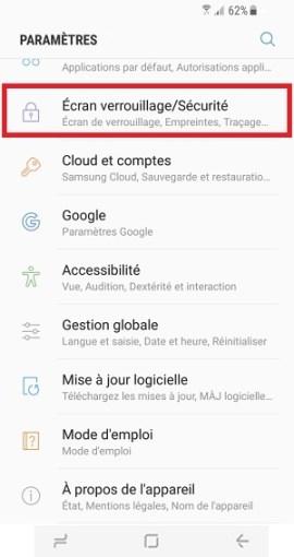contact code pin ecran verrouillage Samsung S8 verrouillage sécurité