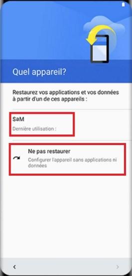 Activation Samsung Galaxy S8 restaurer