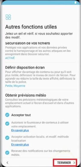 Activation Samsung Galaxy S8 terminer