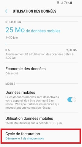 internet Samsung android 7 cycle de facturation