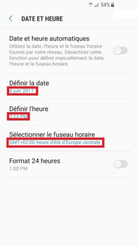 SMS Samsung android 7 messages date et heure