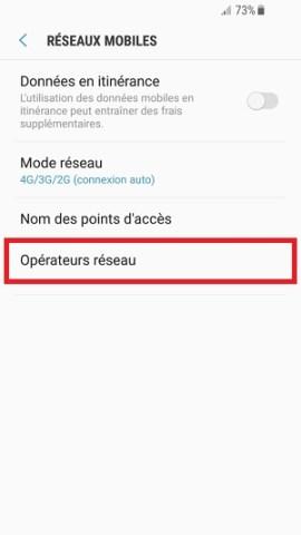 Échec réseau appel Samsung android 7 opérateurs réseau
