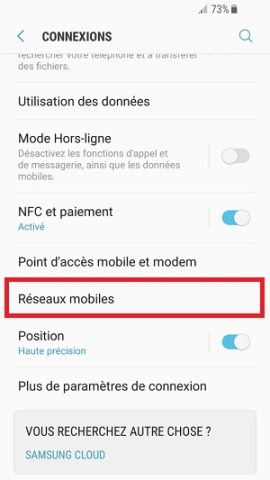 internet Samsung android 7 reseaux mobiles