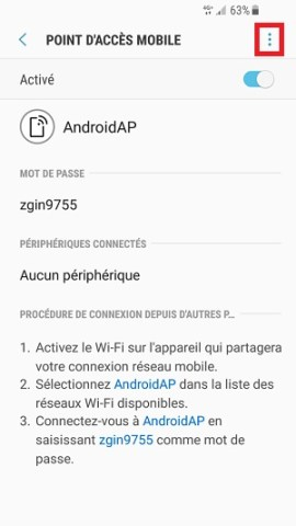 internet Samsung android 7 nougat point accès mobile 3 points