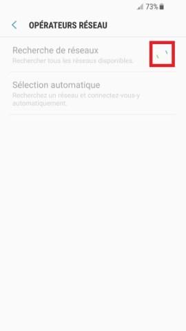 Échec réseau appel Samsung android 7 recherche