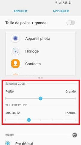 Personnaliser Samsung android 7.0 police ecriture
