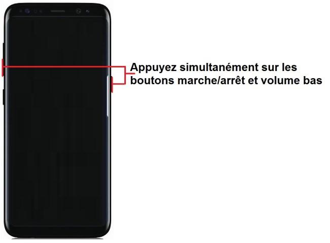 forcer arrêt démarrage Samsung Galaxy S8