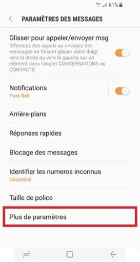 SMS Samsung Galaxy S8 plus de paramètres