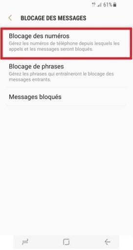 SMS Samsung Galaxy S8 blocage des numéros