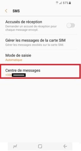 SMS Samsung Galaxy S8 centre de messages