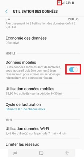 internet Samsung Galaxy S8 bouton données mobiles