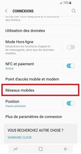 MMS Samsung Galaxy S8 réseaux mobiles